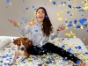 Girl on Bed with Dog and Confetti Commercial Photography