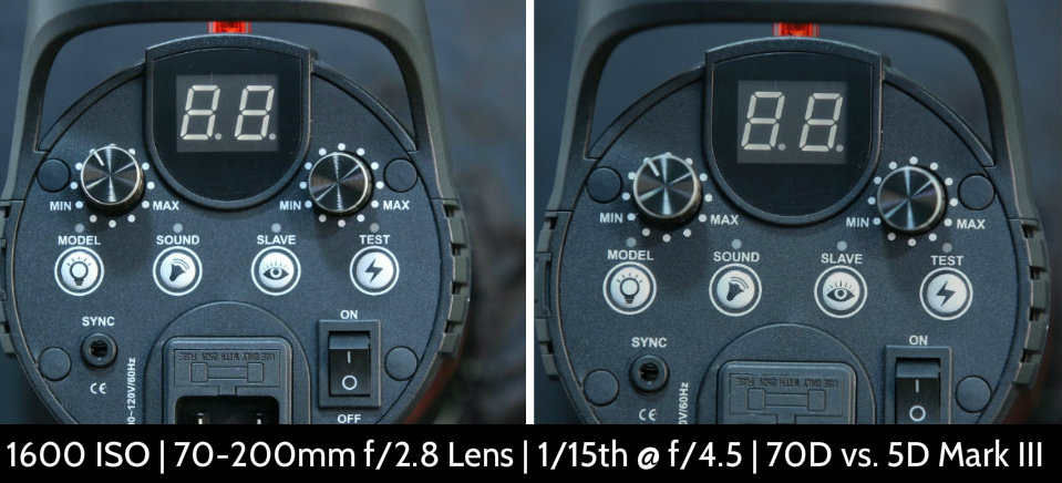 1600 ISO Canon 70D vs. 5D Mark III Noise Test