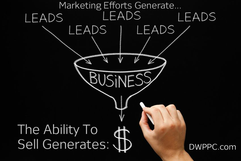 Leads To Business To Dollars With Text