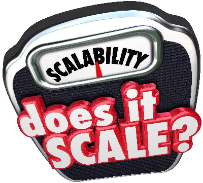 Scalability 3d word and Does It Scale question asking if your business model can increase and size up to serve more customers and accounts
